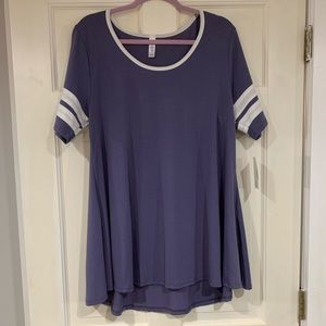 LuLaRoe purple and white Perfect T shirt L NWT